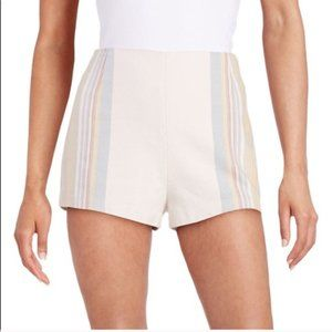 Free People Ivory Striped Linen Side Zip Shorts